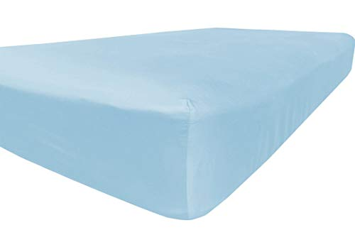 American Pillowcase Queen Size Fitted Sheet Only - 300 Thread Count 100% Egyptian Cotton - Pieces Sold Separately for Set Guarantee (Light Blue)