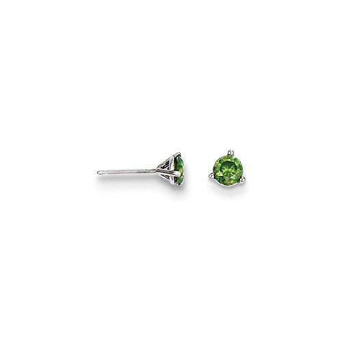 Solid 14k White Gold .50ct Green Diamond Stud Earrings (5mm)