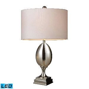 Elk Lighting D1426W-LED Waverly LED Table Lamp in Chrome Plated Glass with Milano Pure White Shade