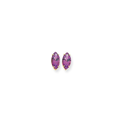 Gold Marquise Amethyst Earrings - 5