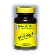 Natures Plus Manganese - 50 mg Amino Acid Chelate, 90 Vegetarian Tablets - High Potency Essential Trace Mineral Supplement, Supports Bone & Cartilage Health - 90 Servings