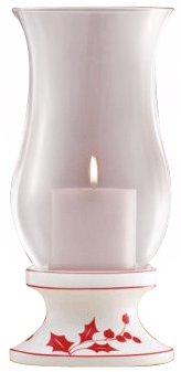 Lenox Holly Silhouette - Lenox Holly Silhouette Hurricane w/Pillar Candle