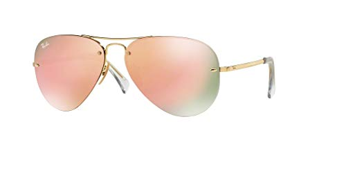 Ray-Ban RB3449 001/2Y 59M Gold/Light Brown Pink Mirror Sunglasses For Men For Women (Ray Ban Online Shop)