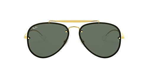 Ray-Ban RB3584N Blaze Aviator Sunglasses, Gold/Dark Green, 58 mm