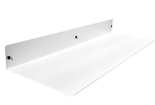DIY CARTEL Linear Floating Shelf - Forged Raw Blackened Steel - Industrial Heavy Duty Metal Wall Mounted Modern Rustic Shelf - Made in The USA (24-in X 8-in Powder Coated White)