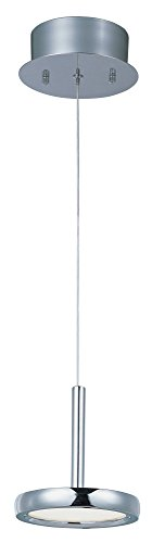 (ET2 E21142-01PC Timbale 1-Light LED Single Pendant, Polished Chrome Finish, White Glass, PCB LED Bulb, 2.4W Max., Dry Safety Rated, 2900K Color Temp., Low-Voltage Electronic Dimmer, Glass Shade Material, 5250 Rated Lumens)