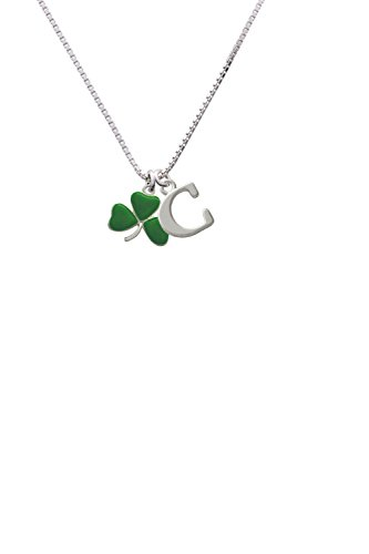 Green Three Leaf Clover - Shamrock - Capital -C- Initial Necklace