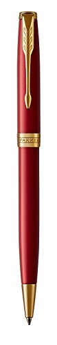 PARKER Sonnet Ballpoint Pen, Red Lacquer with Gold Trim, Medium Point Black Ink (1931476)