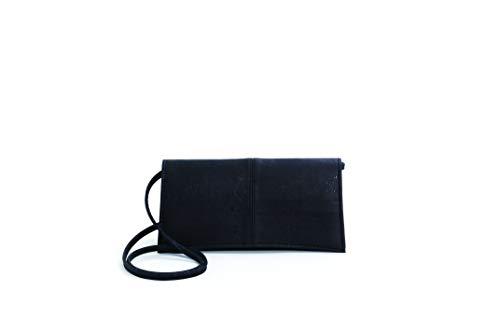Artelusa Cork Clutch Pochette Handbag Black Removable Shoulder Strap Eco-Friendly Handmade in Portugal