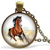 Venta hoy solamente: collar de caballo de bronce Mustang, joyería de caballo, collar Mustang, collar de caballo, caballo marrón, caballo, caballo, caballo, recuerdo de caballo regalo