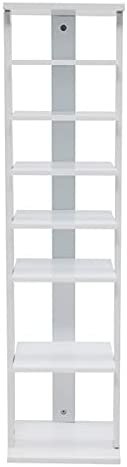 7 Tiers Shoe Rack, Entryway Wooden Shoes Racks, Space Saving Shoes Storage Stand,White Color