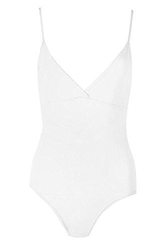 Body Wrap Camisole (Womens Ladies Plain Thin Strap Bodysuit Strappy V Neck Deep Cut Camisole Leotard)