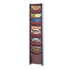 ** Solid Wood Wall-Mount Literature Display Rack, 11-1/4w x 3-3/4d x 48h, Mahogany **