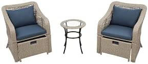 Pumpumly 5-Piece Outdoor Conversation Set Patio Furniture Set Bistro Set Rattan Wicker Chairs with Stools and Tempered Glass Table
