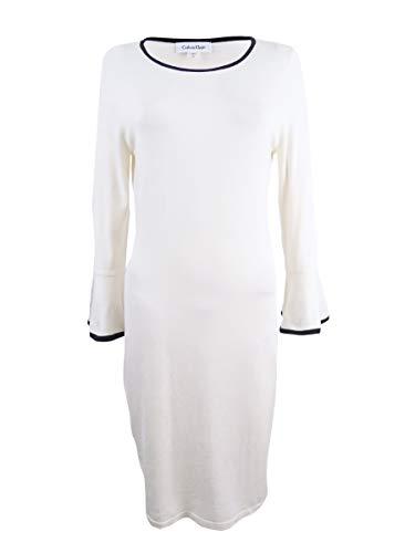 Calvin Klein Women's Two-Tone Bell-Sleeve Sweater Dress (L, Cream/Black)