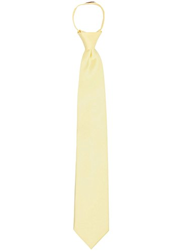 (Jacob Alexander Men's Pretied Ready Made Solid Color Zipper Tie - Yellow)