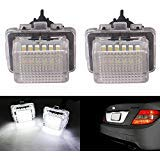 te Light for Mercedes-benz C E S CL Class Error Free 3W 18 Led White Rear License Tag Lights Rear Number Plate Lamp Direct Replacement ()
