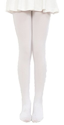 Kids Girls Footed Tight Solid Semi Opaque Pantyhose Stocking for Dancing Costume White,L/5-7 Years ()