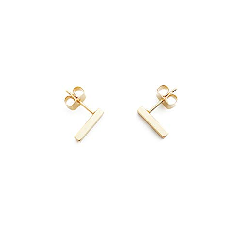 HONEYCAT Flat Drop Bar Stud Earrings in 24k Gold Plate | Minimalist, Delicate Jewelry (Gold)
