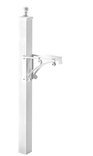 (Whitehall Products 160xx Deluxe Mailbox Post and Bracket Finish: White)