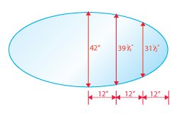 42'' X 72'' E-oval Tempered Glass Table Top 1/2'' Thick 1'' Beveled Edge.