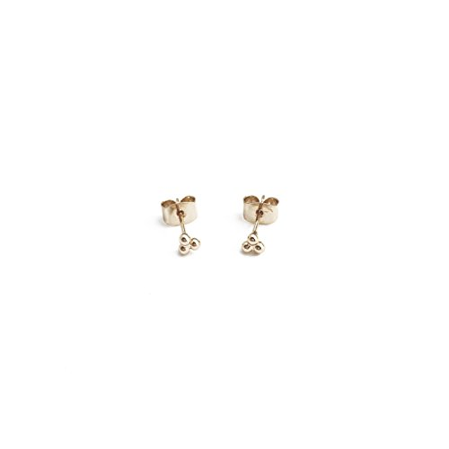 HONEYCAT Tiny Trinity Ball Stud Earrings in 24k Gold Plated | Minimalist, Delicate Jewelry (G)