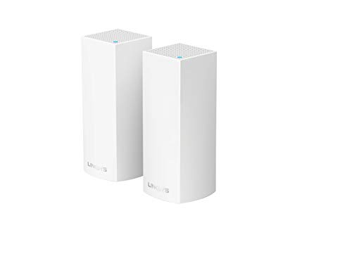 Linksys WHW0302 Velop Tri-Band Whole Home Mesh WiFi System (AC4400 WiFi Router/Extender for Seamless Coverage of up to 4,000 sq ft / 350 sqm, Parental Controls, Compatible with Alexa, 2-Pack, White)