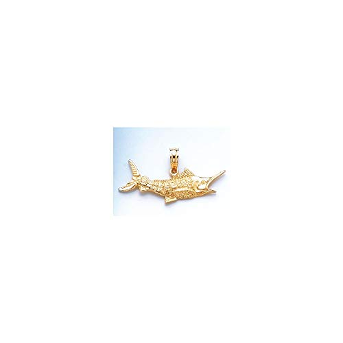(Jewels By Lux 14K Yellow Gold Marlin Fish Textured 2D Pendant)