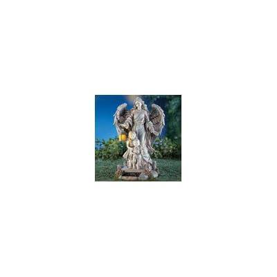 Collections Etc Solar Guardian Angel & Children Garden Statue, Gray : Garden & Outdoor