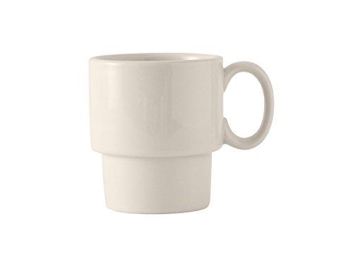 Tuxton BEM-1003 Vitrified China Stackable Mug, 10 oz, Eggshell (Pack of 24),