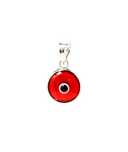 MIZZE Made for Luck Transparent Red Authentic 925 Sterling Silver 10 MM Round Glass Evil Eye Charm Pendant ()
