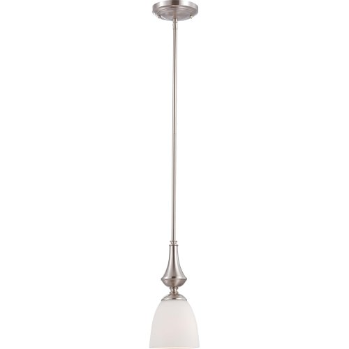 Nuvo Lighting 60/5037 Patton One Light Mini-Pendant 100 Watt A19 Max. Frosted Glass Brushed Nickel (1 Light 100w Mini)