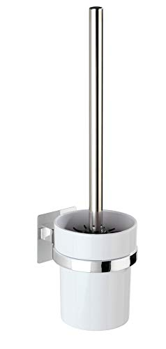 (WENKO Turbo-Loc Quadro 23861100 Toilet Brush and Holder Attachment Without Drilling 9.5 x 35.5 x 12 cm Chrome)