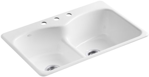 Hole Faucet Drilling (KOHLER K-6626-3-0 Langlade Smart Divide Self-Rimming Kitchen Sink with Three-Hole Faucet Drilling, White)