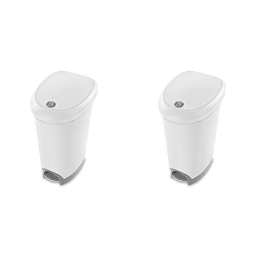 - Sterilite 10738002 12.6 Gallon Locking StepOn Wastebasket, White Lid & Base w/ Titanium Pedal & Lock, 2-Pack