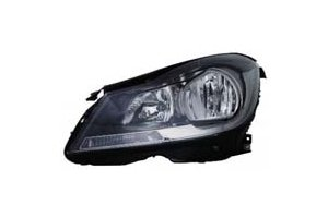 Mercedes Benz C Class Coupe 12-13 Headlight Assembly Halogen Black without Corner Light LH USA Driver Side