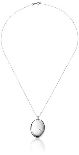 AME Momento Lockets Sterling Silver Diamond Oval Shaped L...