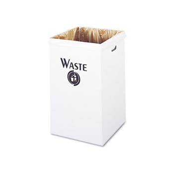 SAFCO Corrugated Waste Receptacle, Square, 40gal, White (Case of 2) - Corrugated Trash Receptacle