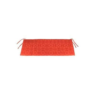 Plow & Hearth Polyester Classic Swing/Bench Cushion - 41 x 17 x 3 Persimmon Block Print : Garden & Outdoor