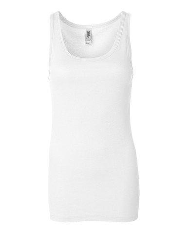 Bella Ladies Sheer Jersey Longer Length Tank Top. 8780 - Medium - White