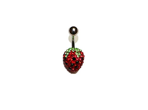 Surgical Steel Belly Button Rings Pave Crystal Disco Ball Shambala Strawberry 14G 3/8