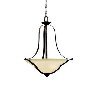 Kichler Lighting 3384CST Langford - Three Light Inverted Pendant, Canyon Slate Finish with Dusty Citrine Glass