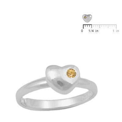 Sterling Silver Simulated Birthstone Heart Ring Adjustable Size 3 To 7 For Girls