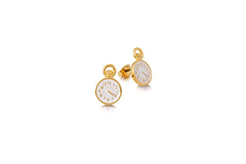 Disney Couture Alice in Wonderland Pocket Watch Earrings - Yellow Gold Plated (Pocket 14k Yellow Watch)