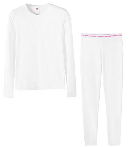 Price comparison product image LAPASA Girls Thermal Underwear Long John Set Fleece Lined Base Layer Top and Bottom G03, White,S(Height 115-125cm)