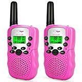 Friday Best Gifts for 3-12 Year Old Girls, Long Range Two Way Radios 3-12 Year Old Girls Toys Handheld Mini Walkie Talkies for Kids Pink FDUSWT06 ()