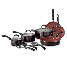 Tramontina 12-Piece Style Nonstick Cookware Set, Black Cherry