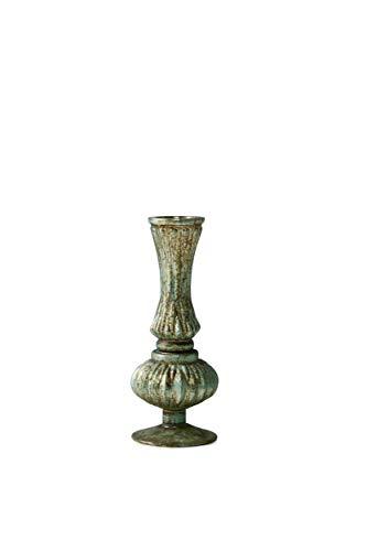 Serene Spaces Living Verdigris Glass Bud Vase, Vintage Style Vase, Measures 7