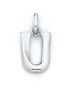 "Pendentif initiale U Blanc 14 carats 11/16 ""- JewelryWeb"