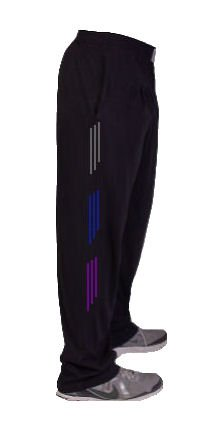 Crazee Wear Relaxed fit Style 500/cotton/poly Blend Pants/Grey, Blue and Purple Stripe Crazee Wear Baggy Pants